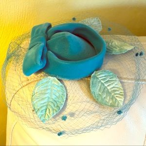 Antique Vintage Fascinator Hat Aqua Turquoise Blue